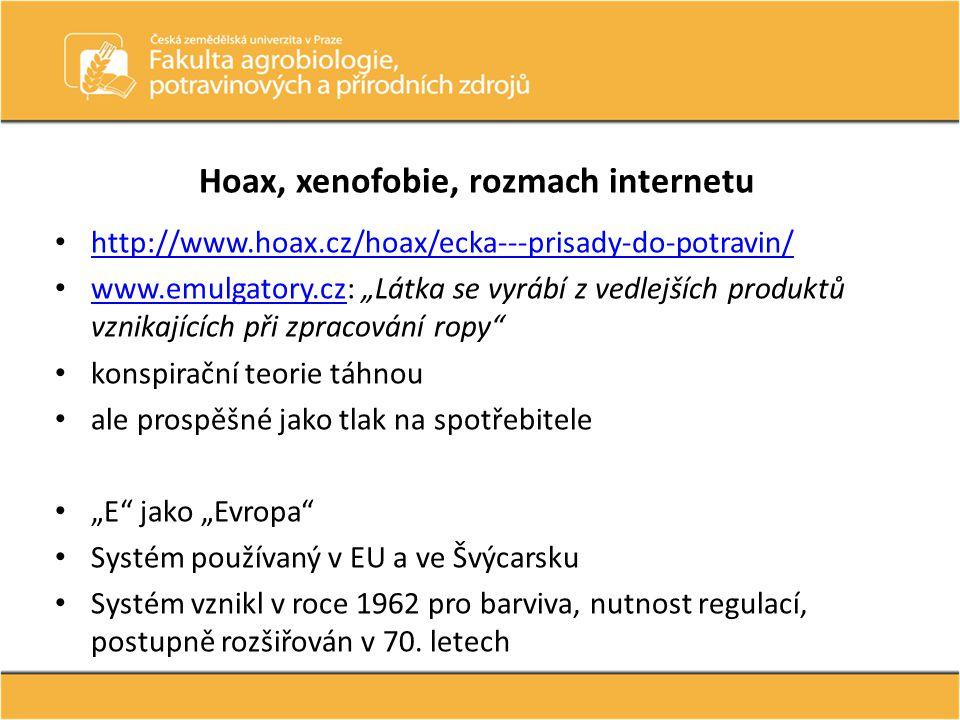 Hoax, xenofobie, rozmach internetu • http://www.hoax.cz/hoax/ecka---prisady-do-potravin/ http://www.hoax.cz/hoax/ecka---prisady-do-potravin/ • www.emu