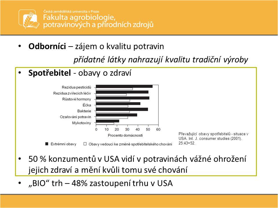 """• 50 % konzumentů v USA vidí v potravinách vážné ohrožení jejich zdraví a mění kvůli tomu své chování • """"BIO"""" trh – 48% zastoupení trhu v USA • Odborn"""