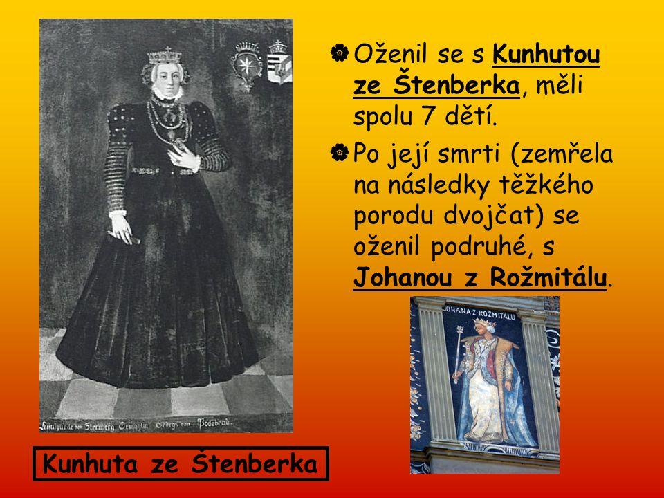  Oženil se s Kunhutou ze Štenberka, měli spolu 7 dětí.  Po její smrti (zemřela na následky těžkého porodu dvojčat) se oženil podruhé, s Johanou z Ro