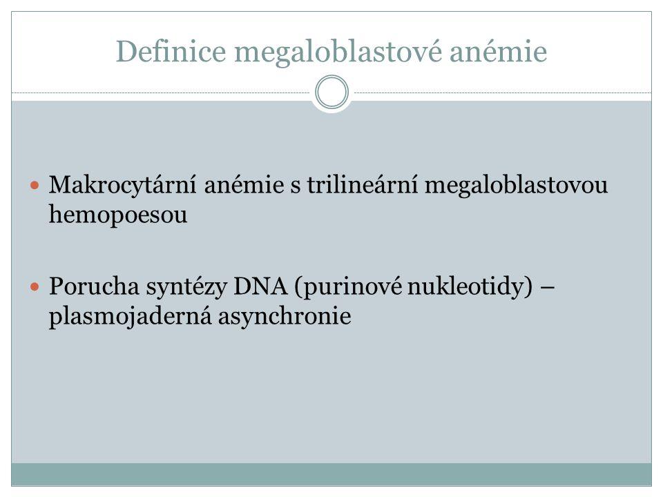 Definice megaloblastové anémie  Makrocytární anémie s trilineární megaloblastovou hemopoesou  Porucha syntézy DNA (purinové nukleotidy) – plasmojade