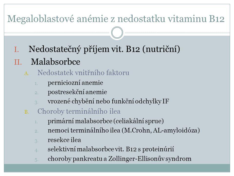 Megaloblastové anémie z nedostatku vitaminu B12 I. Nedostatečný příjem vit. B12 (nutriční) II. Malabsorbce A. Nedostatek vnitřního faktoru 1. pernicio