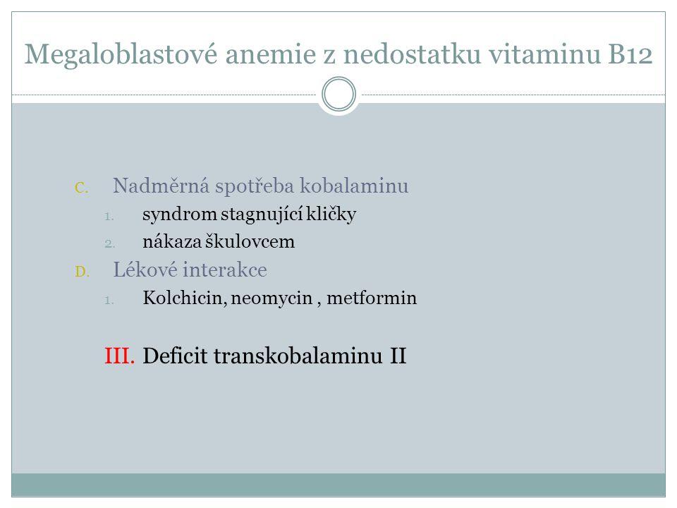 Megaloblastové anemie z nedostatku vitaminu B12 C. Nadměrná spotřeba kobalaminu 1. syndrom stagnující kličky 2. nákaza škulovcem D. Lékové interakce 1
