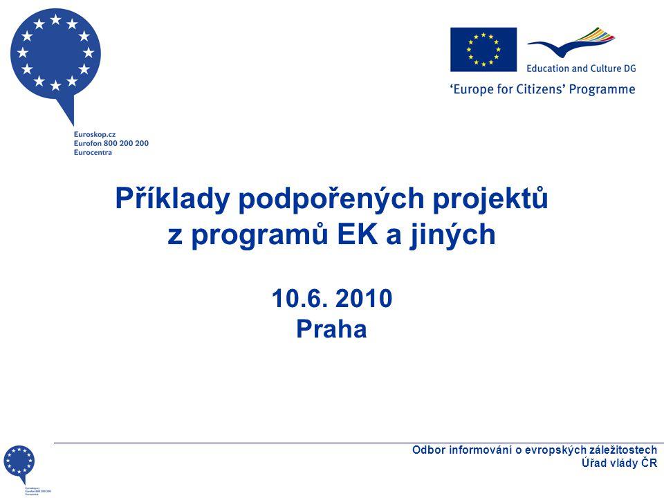 Příklady projektů s kulturním aspektem •Osobní anamnéza •Cirkus totality •Evropa pro občany – další projekty •Projektová dokumentace