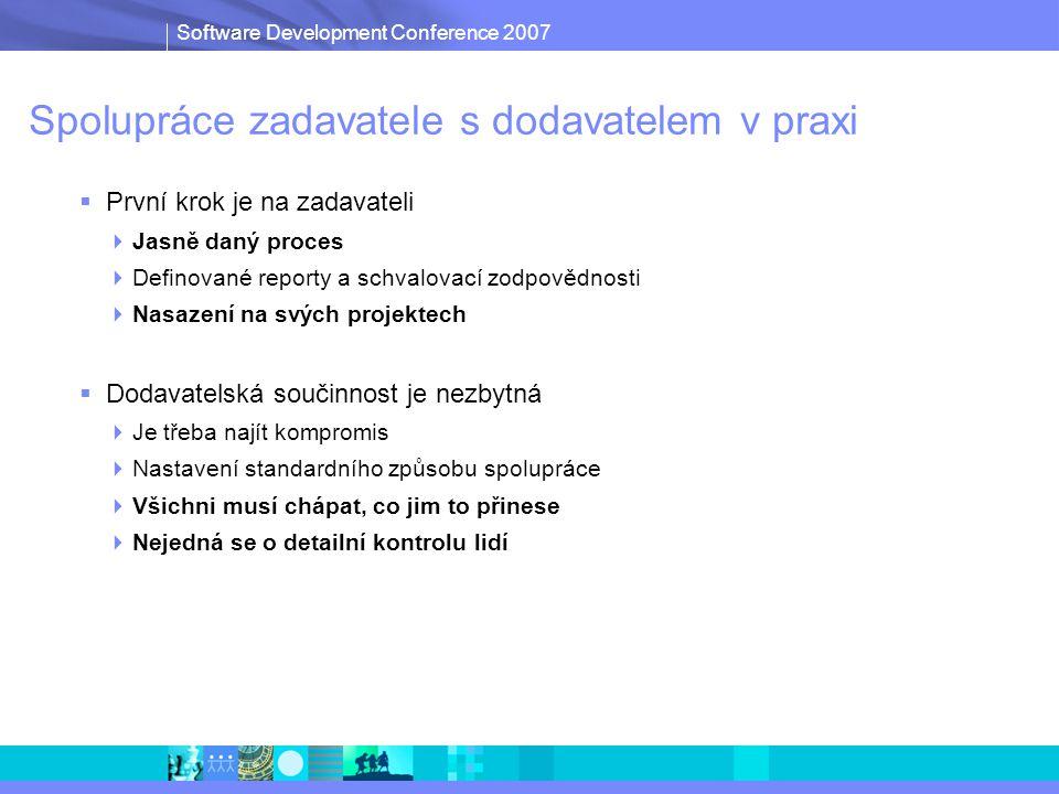 Software Development Conference 2007 Spolupráce zadavatele s dodavatelem v praxi  První krok je na zadavateli  Jasně daný proces  Definované reporty a schvalovací zodpovědnosti  Nasazení na svých projektech  Dodavatelská součinnost je nezbytná  Je třeba najít kompromis  Nastavení standardního způsobu spolupráce  Všichni musí chápat, co jim to přinese  Nejedná se o detailní kontrolu lidí