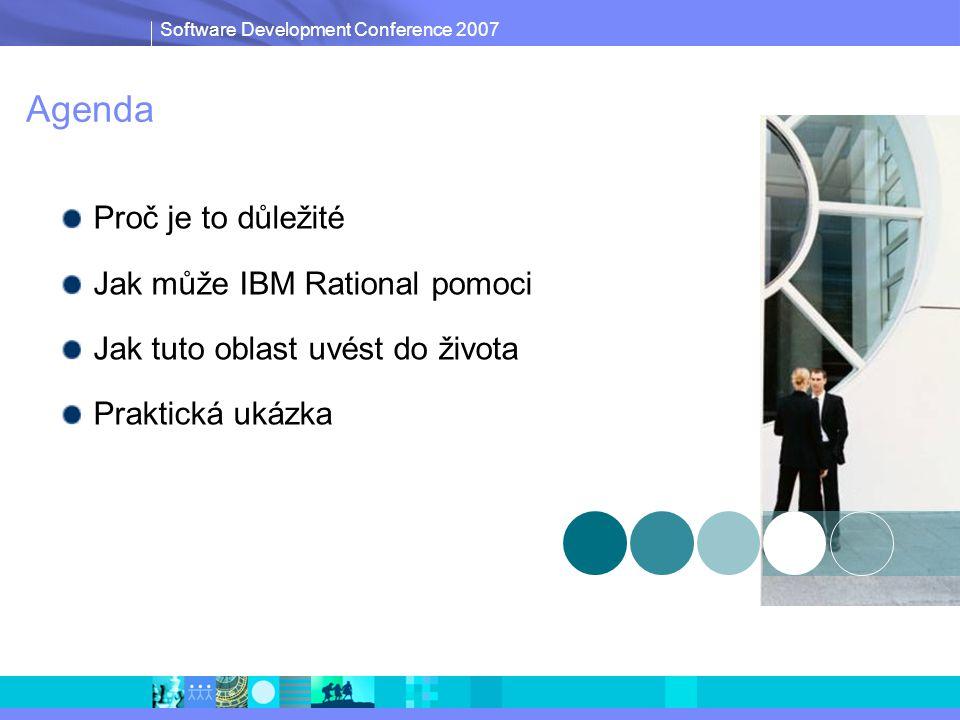 Software Development Conference 2007 Agenda Proč je to důležité Jak může IBM Rational pomoci Jak tuto oblast uvést do života Praktická ukázka