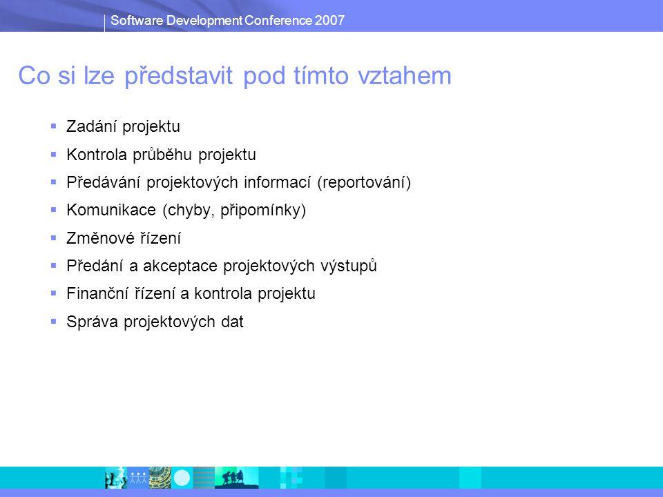 Software Development Conference 2007 Co si lze představit pod tímto vztahem  Zadání projektu  Kontrola průběhu projektu  Předávání projektových informací (reportování)  Komunikace (chyby, připomínky)  Změnové řízení  Předání a akceptace projektových výstupů  Finanční řízení a kontrola projektu  Správa projektových dat
