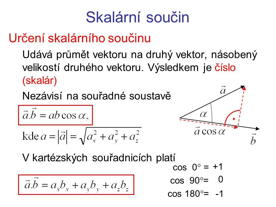 Skalární součin Určení skalárního součinu Udává průmět vektoru na druhý vektor, násobený velikostí druhého vektoru. Výsledkem je číslo (skalár) Nezávi