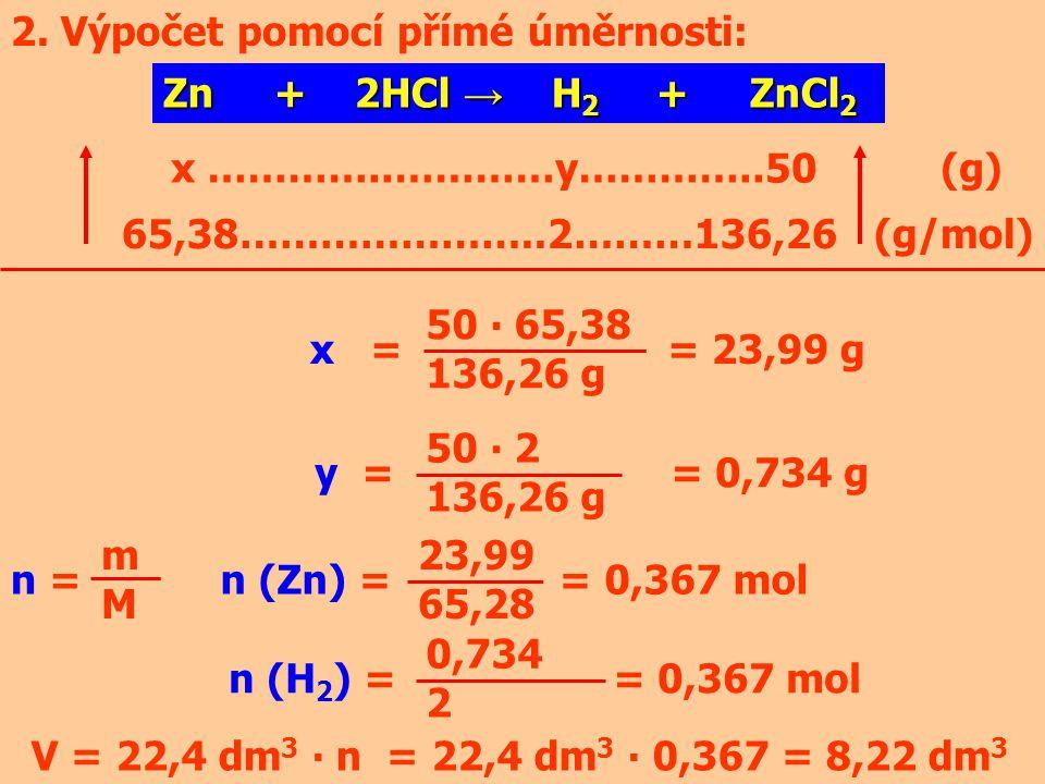2. Výpočet pomocí přímé úměrnosti: Zn + 2HCl → H 2 + ZnCl 2 x …………..…………y…………..50 (g) 65,38…………………..2………136,26 (g/mol) x = = 23,99 g y = = 0,734 g 50
