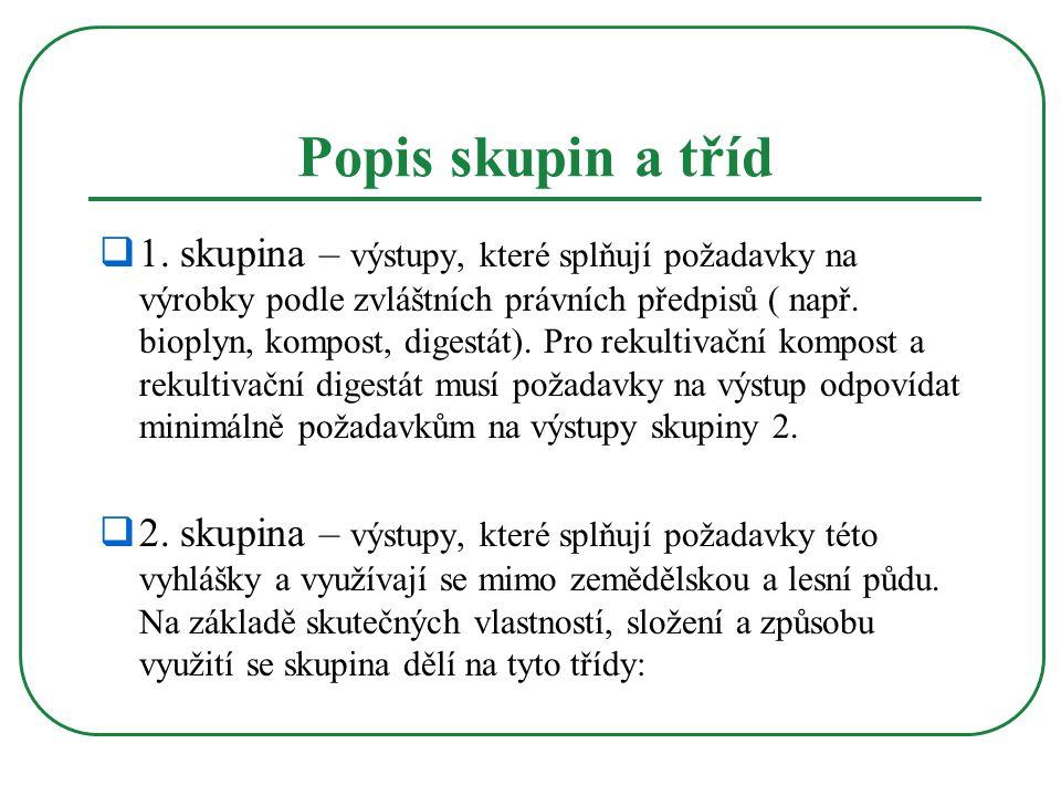 Popis skupin a tříd  1. skupina – výstupy, které splňují požadavky na výrobky podle zvláštních právních předpisů ( např. bioplyn, kompost, digestát).