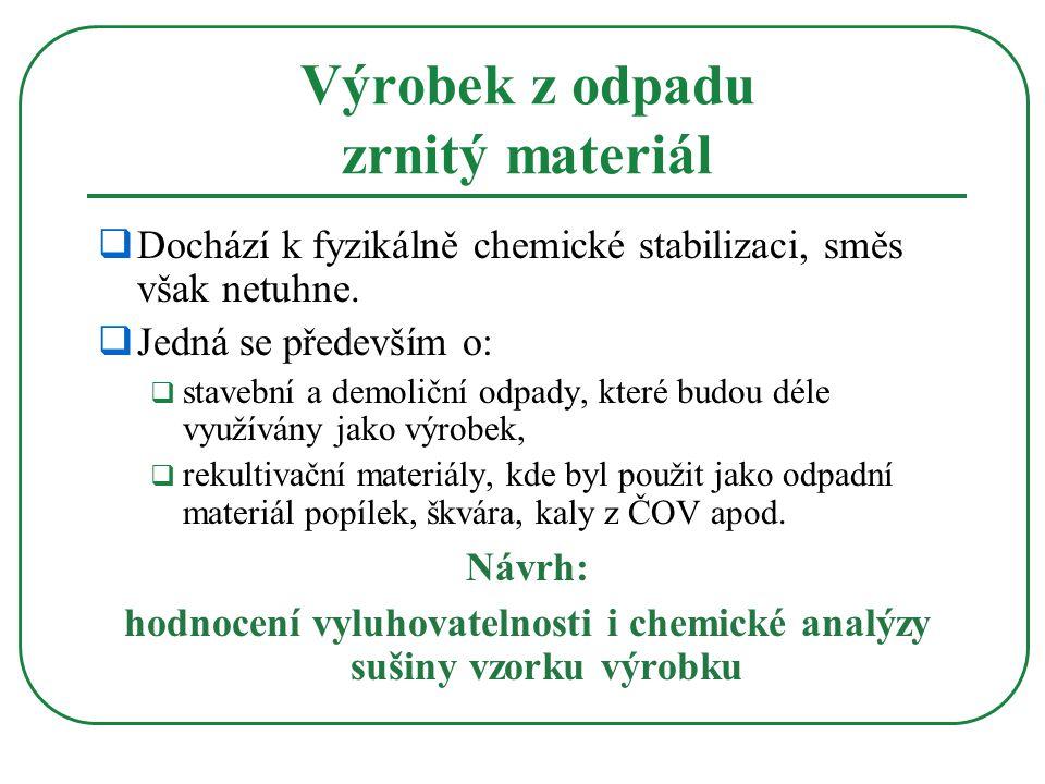  Dochází k fyzikálně chemické stabilizaci, směs však netuhne.  Jedná se především o:  stavební a demoliční odpady, které budou déle využívány jako