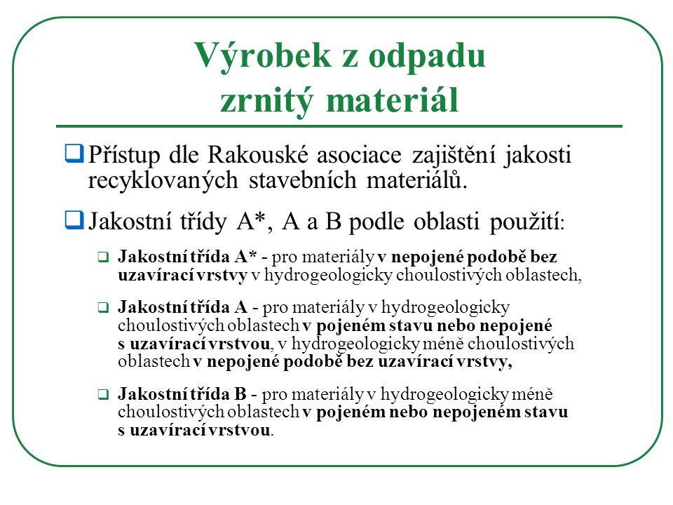Výrobek z odpadu zrnitý materiál  Přístup dle Rakouské asociace zajištění jakosti recyklovaných stavebních materiálů.  Jakostní třídy A*, A a B podl