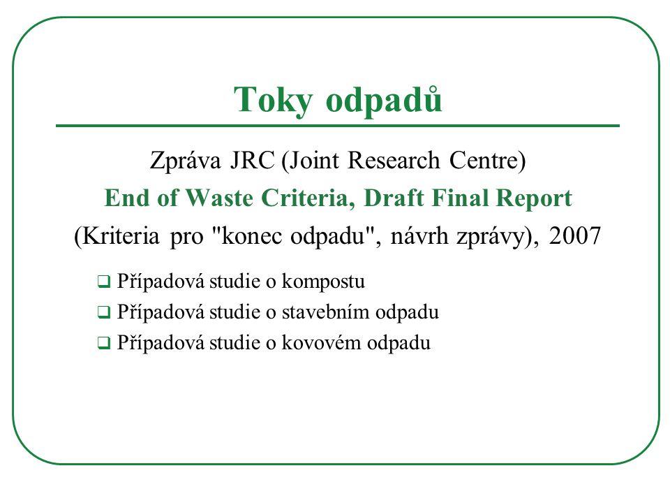 Tok odpadů BRO  pravidla ČR Vyhláška č 341/2008 Sb., vyhláška o podrobnostech nakládání s biologicky rozložitelnými odpady  příklad hodnocení výrobků z odpadů  výstup ze zařízení výrobek