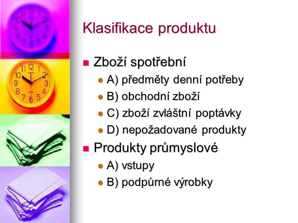 Klasifikace produktu  Zboží spotřební  A) předměty denní potřeby  B) obchodní zboží  C) zboží zvláštní poptávky  D) nepožadované produkty  Produkty průmyslové  A) vstupy  B) podpůrné výrobky