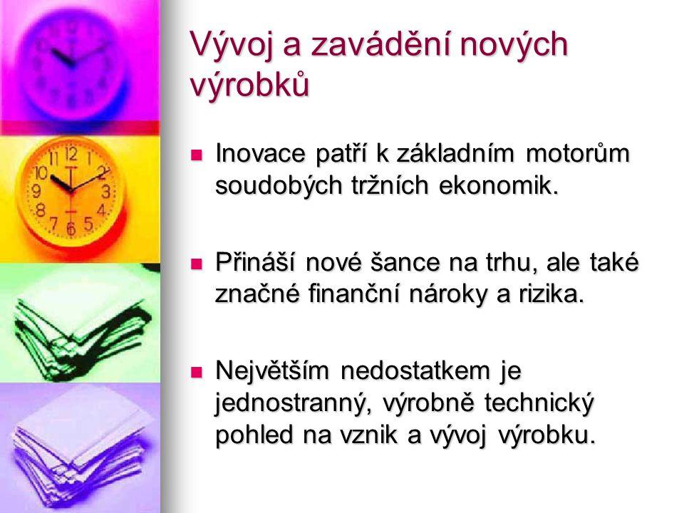 Vývoj a zavádění nových výrobků  Inovace patří k základním motorům soudobých tržních ekonomik.