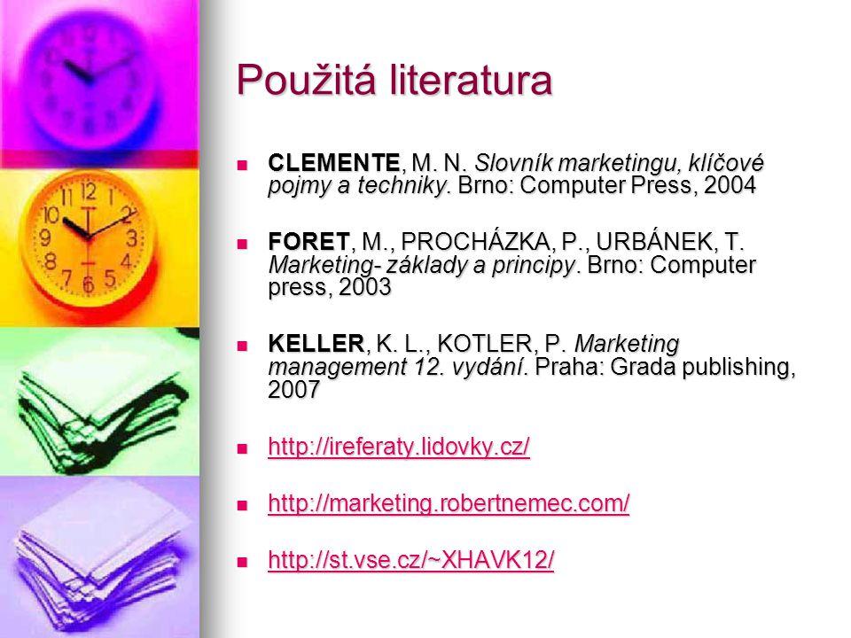 Použitá literatura  CLEMENTE, M.N. Slovník marketingu, klíčové pojmy a techniky.