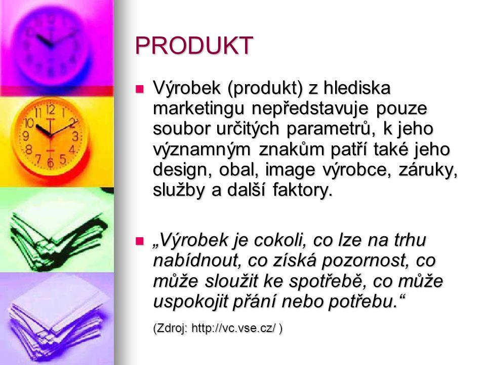 PRODUKT  Výrobek (produkt) z hlediska marketingu nepředstavuje pouze soubor určitých parametrů, k jeho významným znakům patří také jeho design, obal, image výrobce, záruky, služby a další faktory.
