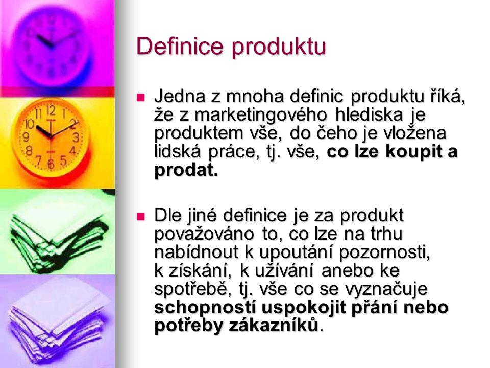 Definice produktu  Jedna z mnoha definic produktu říká, že z marketingového hlediska je produktem vše, do čeho je vložena lidská práce, tj.