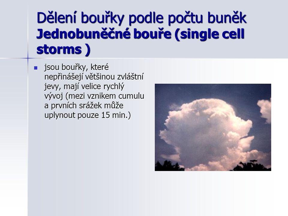 Dělení bouřky podle počtu buněk Jednobuněčné bouře (single cell storms )  jsou bouřky, které nepřinášejí většinou zvláštní jevy, mají velice rychlý v
