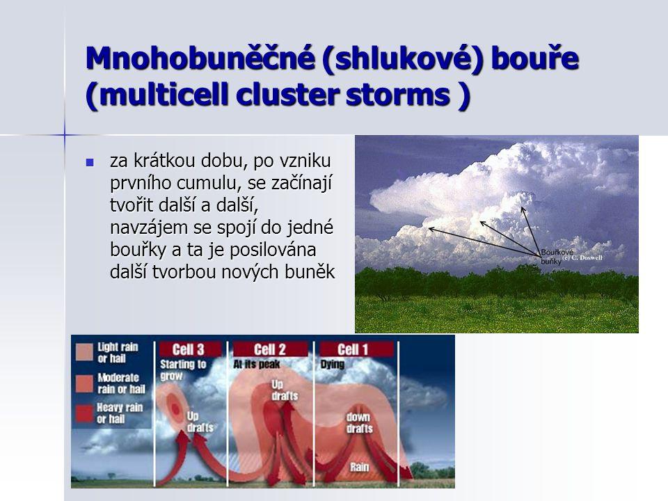 Mnohobuněčné (shlukové) bouře (multicell cluster storms )  za krátkou dobu, po vzniku prvního cumulu, se začínají tvořit další a další, navzájem se s