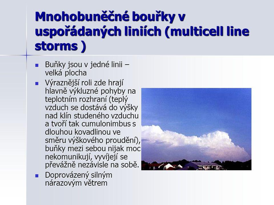 Mnohobuněčné bouřky v uspořádaných liniích (multicell line storms )  Buňky jsou v jedné linii – velká plocha  Výraznější roli zde hrají hlavně výklu