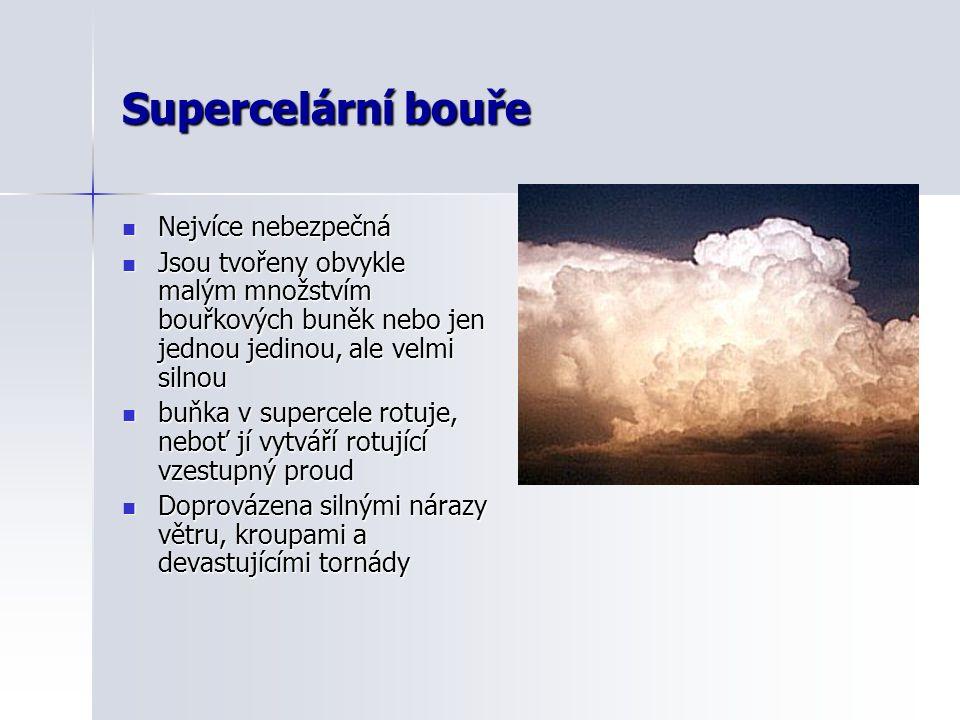 Supercelární bouře  Nejvíce nebezpečná  Jsou tvořeny obvykle malým množstvím bouřkových buněk nebo jen jednou jedinou, ale velmi silnou  buňka v su