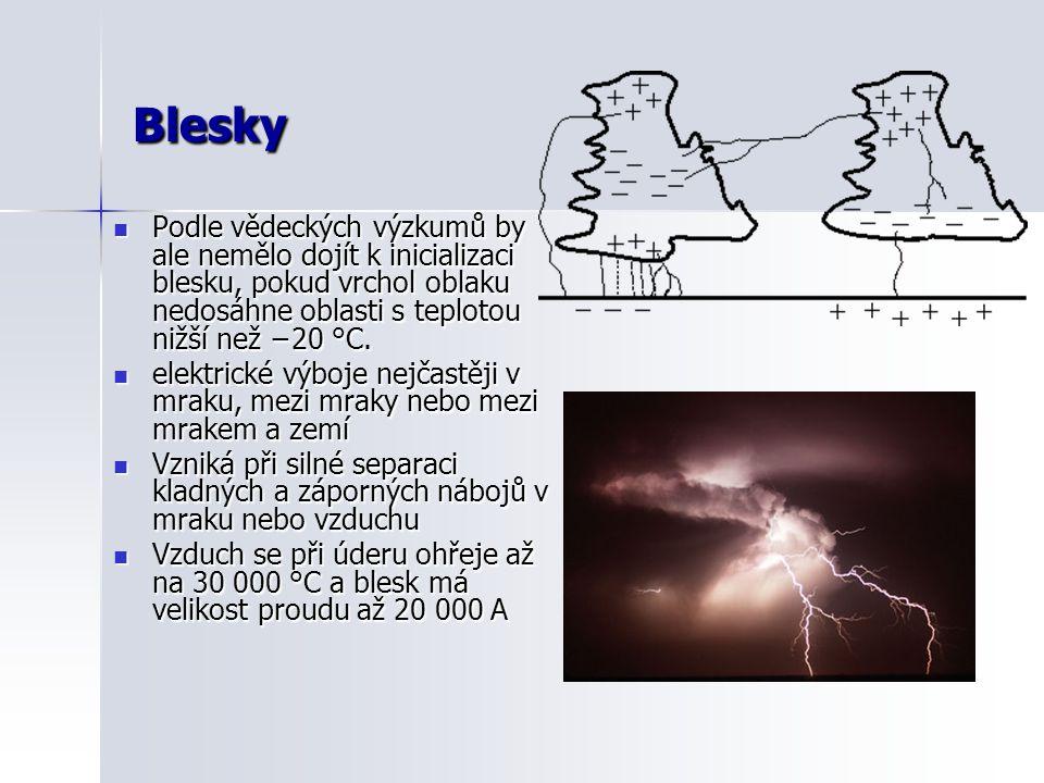 Blesky  Podle vědeckých výzkumů by ale nemělo dojít k inicializaci blesku, pokud vrchol oblaku nedosáhne oblasti s teplotou nižší než −20 °C.  elekt