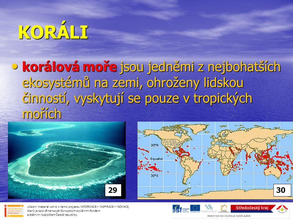 KORÁLI • korálová moře jsou jedněmi z nejbohatších ekosystémů na zemi, ohroženy lidskou činností, vyskytují se pouze v tropických mořích Učební materiál vznikl v rámci projektu INFORMACE – INSPIRACE – INOVACE, který je spolufinancován Evropským sociálním fondem a státním rozpočtem České republiky.