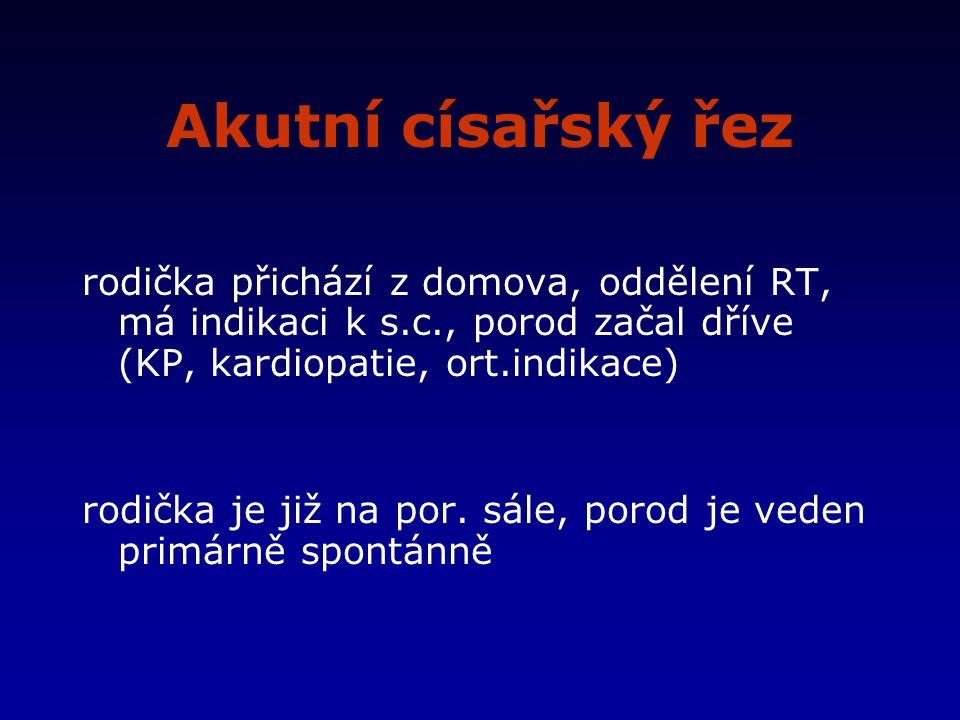Akutní císařský řez rodička přichází z domova, oddělení RT, má indikaci k s.c., porod začal dříve (KP, kardiopatie, ort.indikace) rodička je již na por.