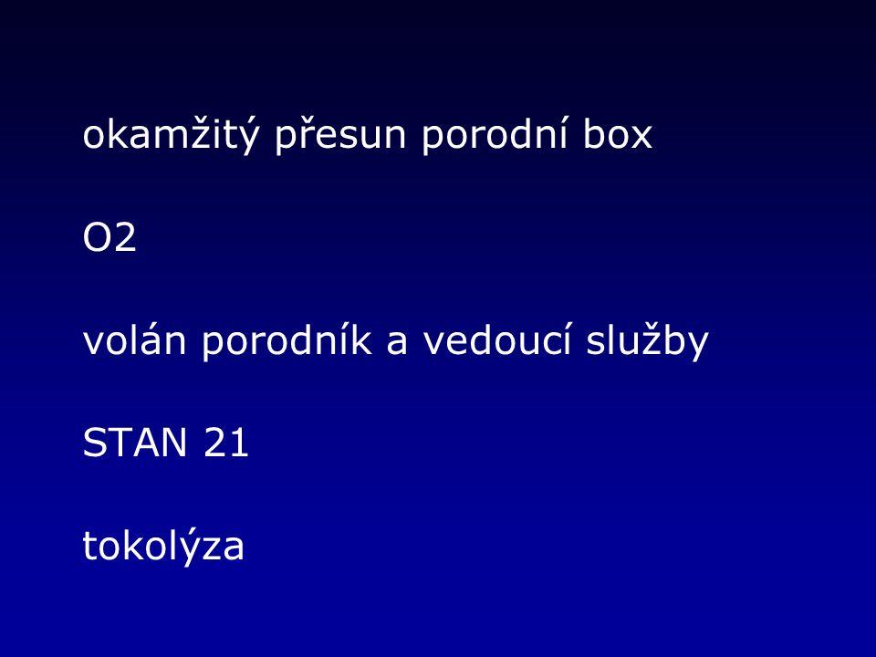 okamžitý přesun porodní box O2 volán porodník a vedoucí služby STAN 21 tokolýza