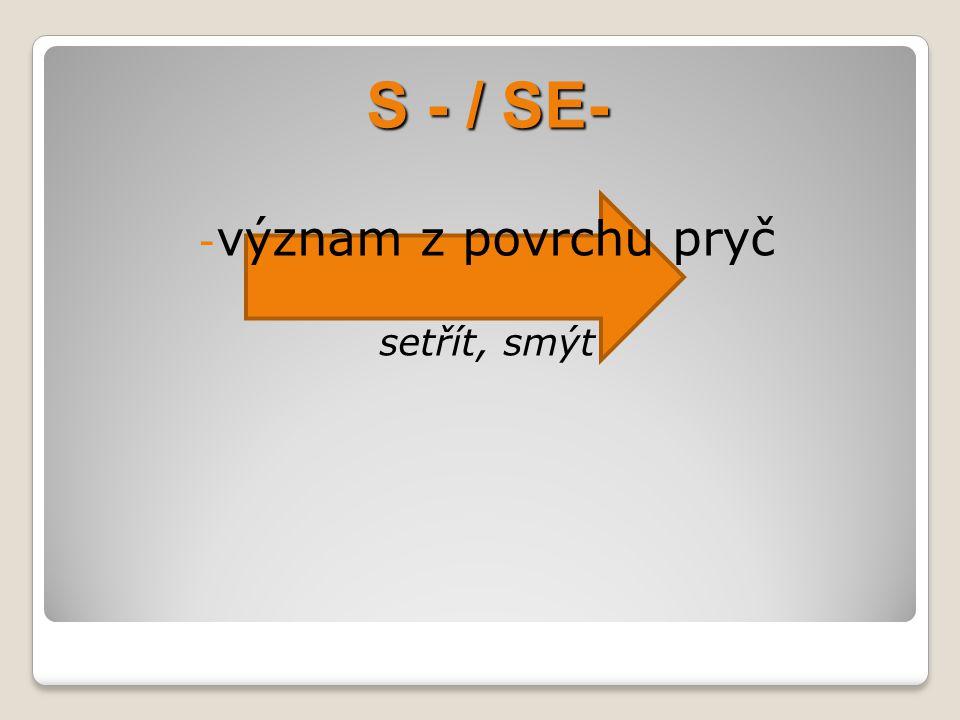 S - / SE- - význam z povrchu pryč setřít, smýt
