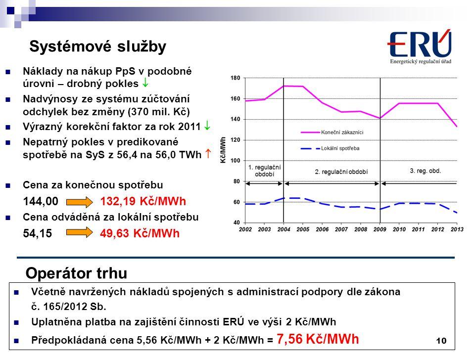 10 Systémové služby  Náklady na nákup PpS v podobné úrovni – drobný pokles   Nadvýnosy ze systému zúčtování odchylek bez změny (370 mil. Kč)  Výra