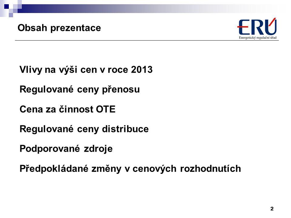 2 Obsah prezentace Vlivy na výši cen v roce 2013 Regulované ceny přenosu Cena za činnost OTE Regulované ceny distribuce Podporované zdroje Předpokláda