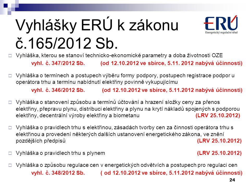 Vyhlášky ERÚ k zákonu č.165/2012 Sb.  Vyhláška, kterou se stanoví technicko-ekonomické parametry a doba životnosti OZE vyhl. č. 347/2012 Sb. (od 12.1