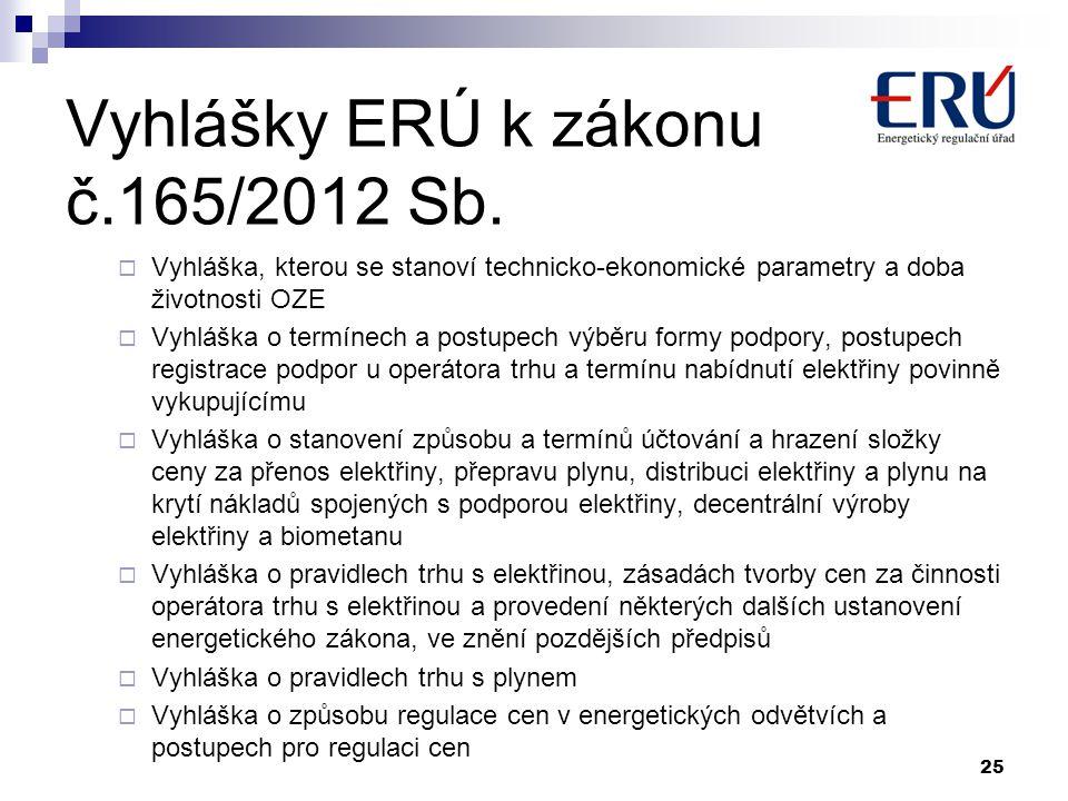 Vyhlášky ERÚ k zákonu č.165/2012 Sb.  Vyhláška, kterou se stanoví technicko-ekonomické parametry a doba životnosti OZE  Vyhláška o termínech a postu