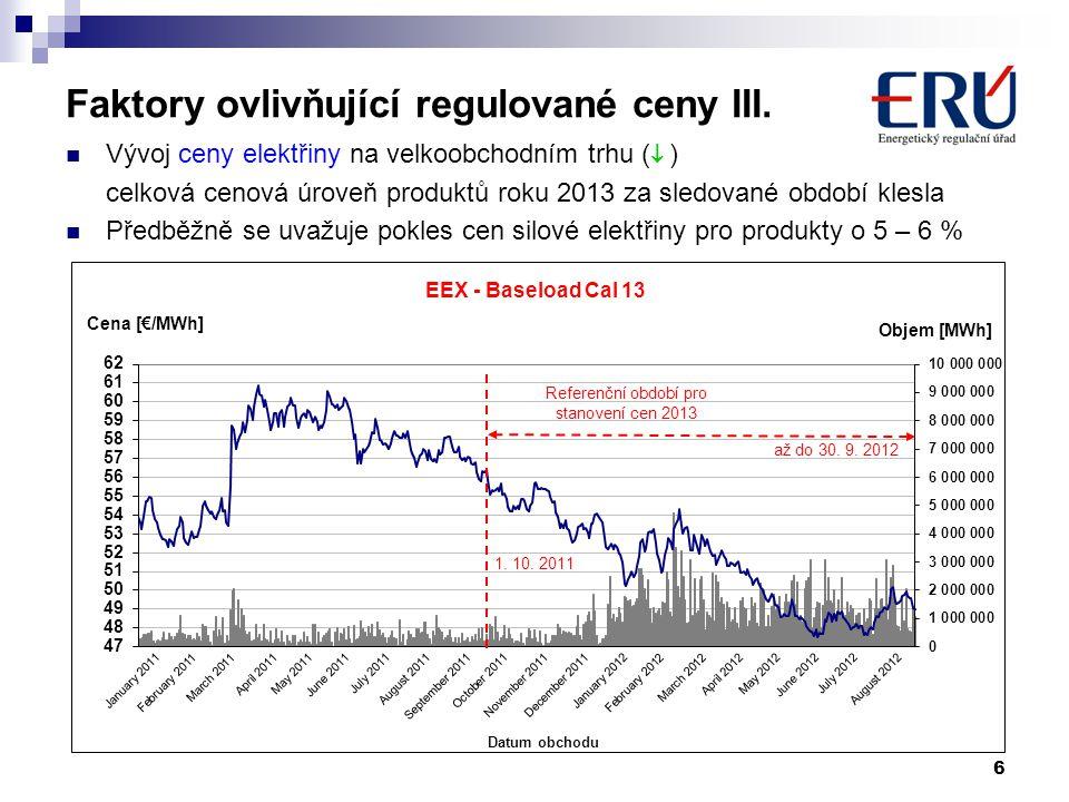6 Faktory ovlivňující regulované ceny III.  Vývoj ceny elektřiny na velkoobchodním trhu (  ) celková cenová úroveň produktů roku 2013 za sledované o