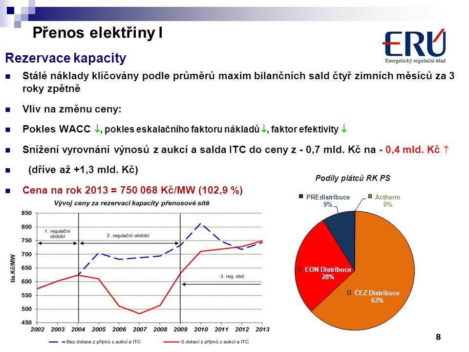 8 Přenos elektřiny I Rezervace kapacity  Stálé náklady klíčovány podle průměrů maxim bilančních sald čtyř zimních měsíců za 3 roky zpětně  Vliv na z