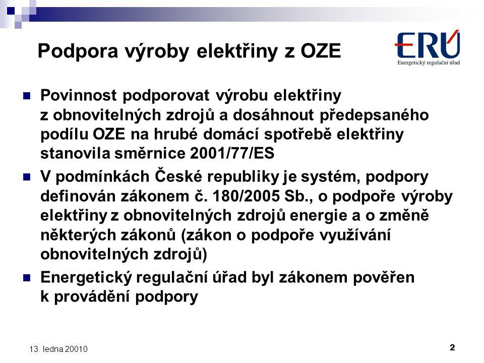 2 13. ledna 20010 Podpora výroby elektřiny z OZE  Povinnost podporovat výrobu elektřiny z obnovitelných zdrojů a dosáhnout předepsaného podílu OZE na
