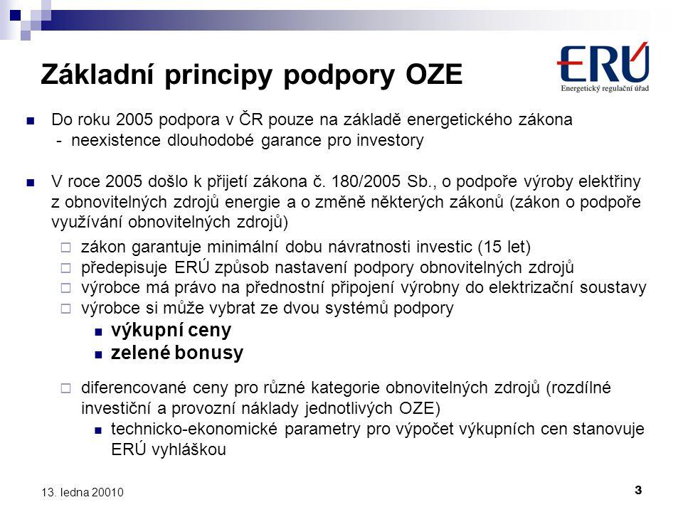 3 13. ledna 20010 Základní principy podpory OZE  Do roku 2005 podpora v ČR pouze na základě energetického zákona - neexistence dlouhodobé garance pro
