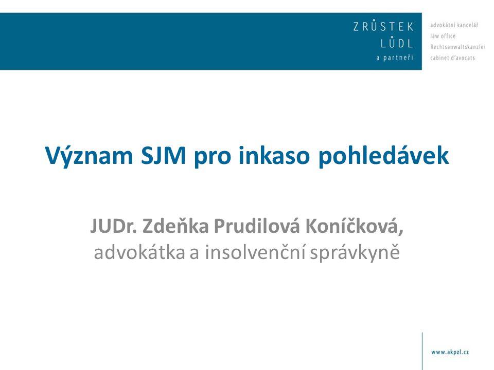 Význam SJM pro inkaso pohledávek JUDr. Zdeňka Prudilová Koníčková, advokátka a insolvenční správkyně