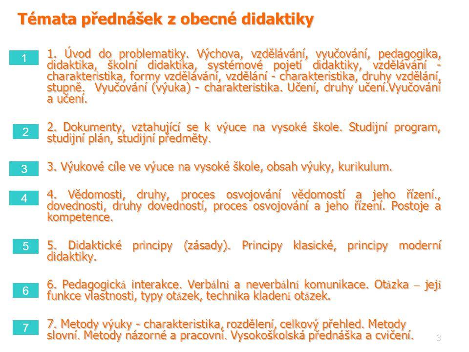 3 Témata přednášek z obecné didaktiky 1. Úvod do problematiky. Výchova, vzdělávání, vyučování, pedagogika, didaktika, školní didaktika, systémové poje