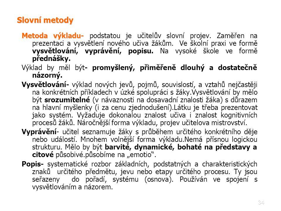 34 Slovní metody Metoda výkladu- Metoda výkladu- podstatou je učitelův slovní projev. Zaměřen na prezentaci a vysvětlení nového učiva žákům. Ve školní