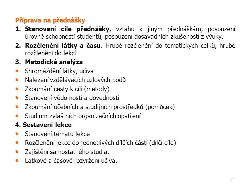 41 Příprava na přednášky 1. 1.Stanovení cíle přednášky, vztahu k jiným přednáškám, posouzení úrovně schopností studentů, posouzení dosavadních zkušeno