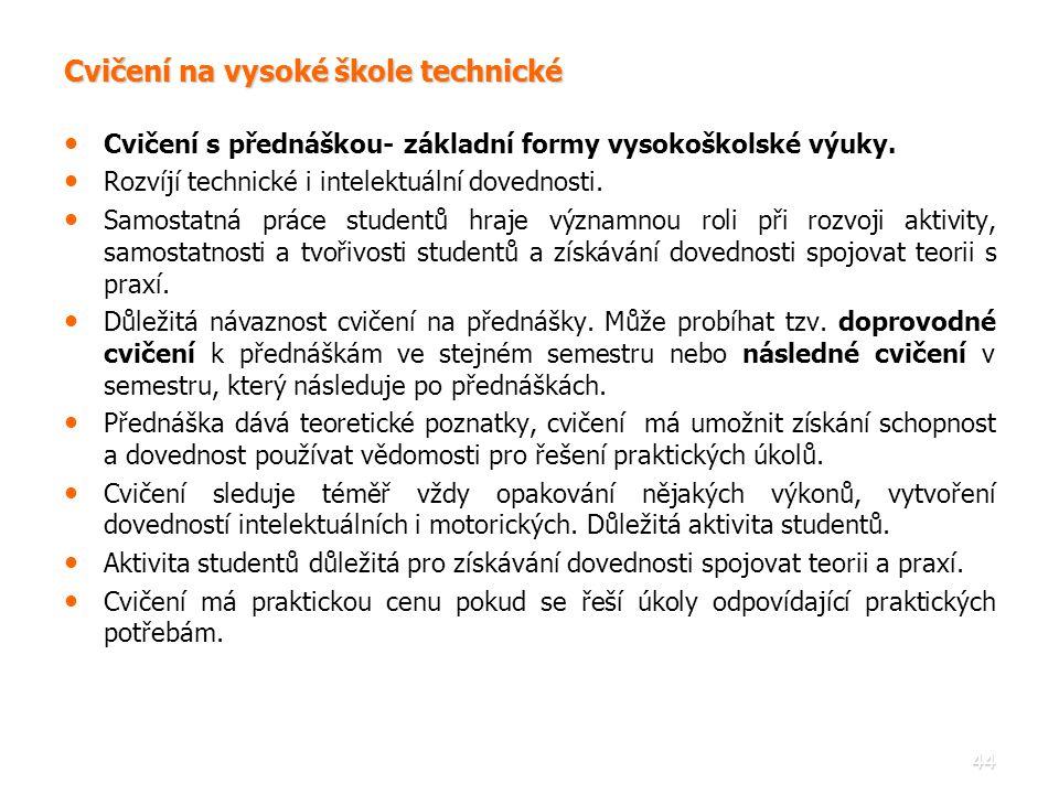 44 Cvičení na vysoké škole technické • • Cvičení s přednáškou- základní formy vysokoškolské výuky. • • Rozvíjí technické i intelektuální dovednosti. •