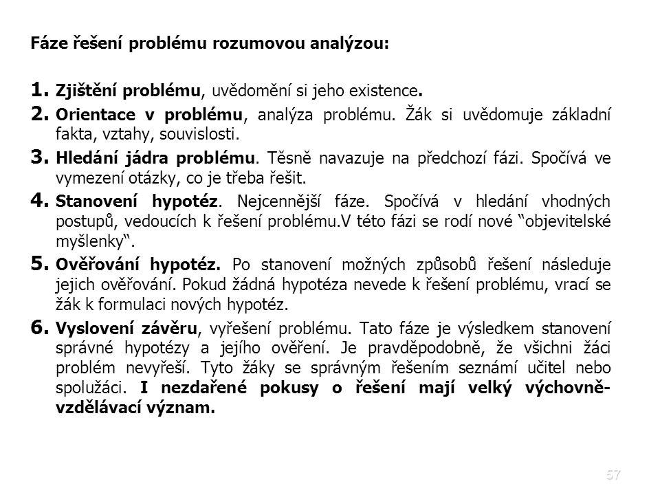 57 Fáze řešení problému rozumovou analýzou: 1. 1. Zjištění problému, uvědomění si jeho existence. 2. 2. Orientace v problému, analýza problému. Žák si