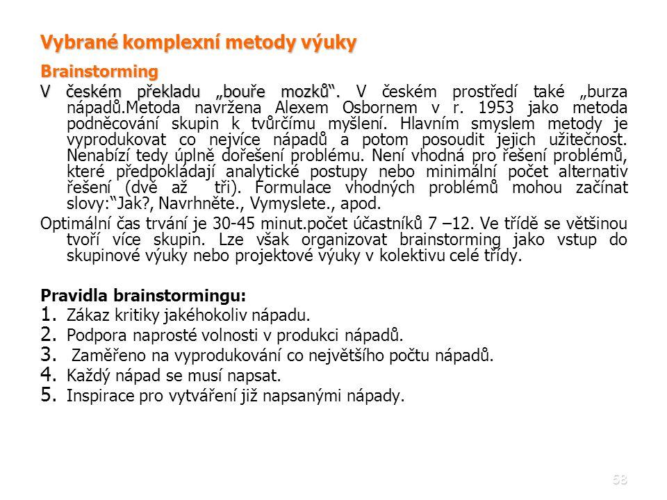 """58 Vybrané komplexní metody výuky Brainstorming V českém překladu """"bouře mozků"""". V českém překladu """"bouře mozků"""". V českém prostředí také """"burza nápad"""