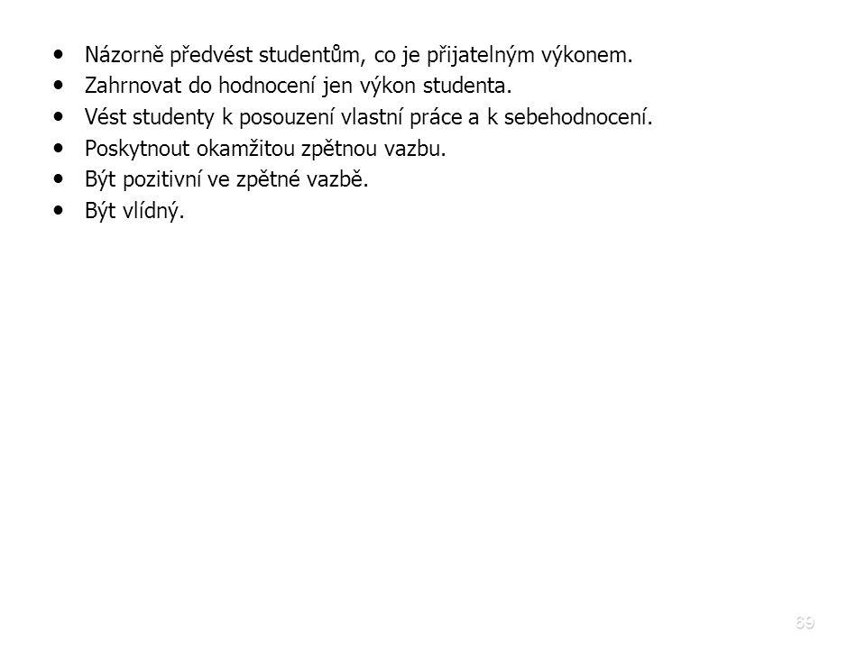 69 • • Názorně předvést studentům, co je přijatelným výkonem. • • Zahrnovat do hodnocení jen výkon studenta. • • Vést studenty k posouzení vlastní prá