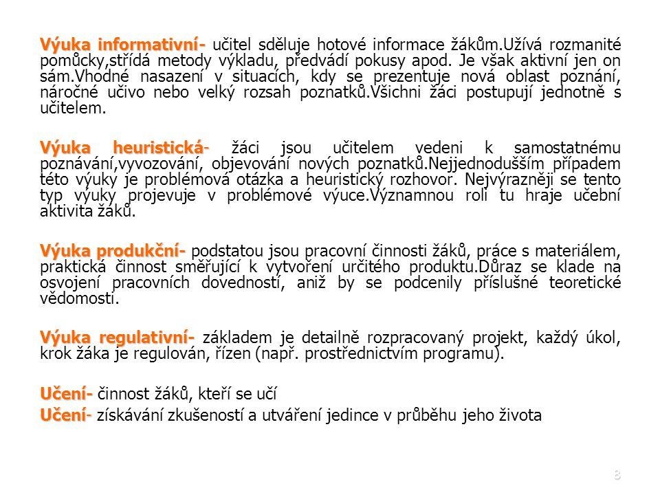 9 Fáze výuky (Maňák, 2001): • • Prvky systému výuky, které postihují její procesuální stránku.