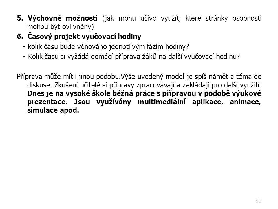 89 5. Výchovné možnosti (jak mohu učivo využít, které stránky osobnosti mohou být ovlivněny) 6. Časový projekt vyučovací hodiny - kolik času bude věno