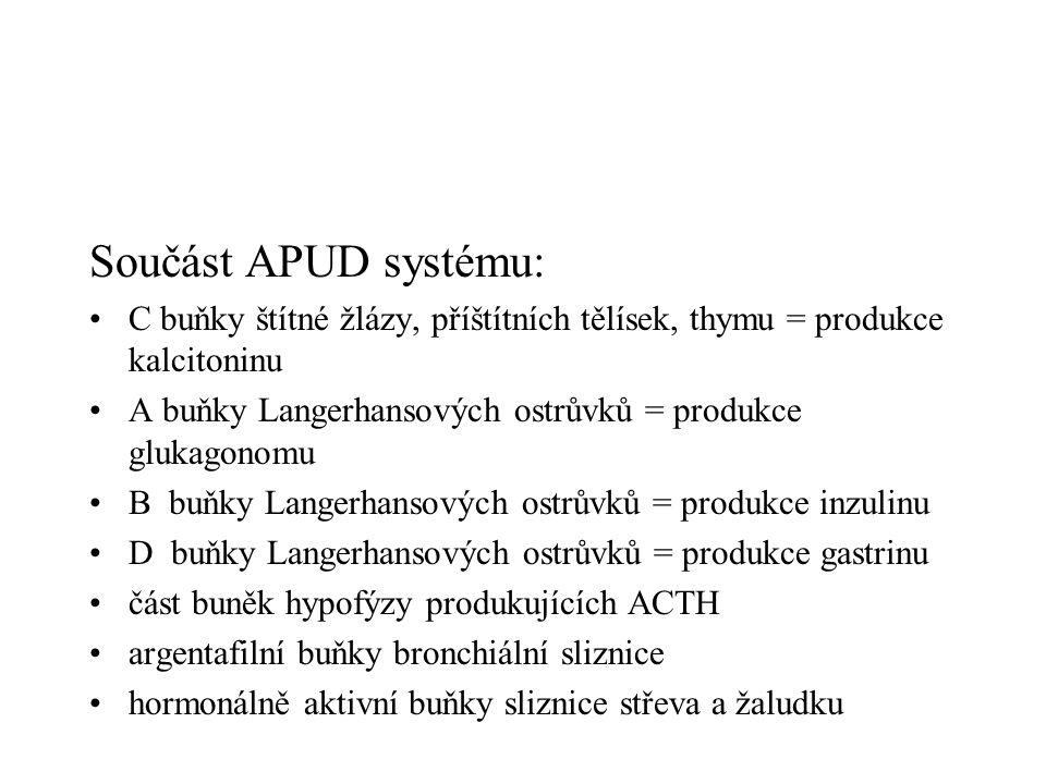 Součást APUD systému: •C buňky štítné žlázy, příštítních tělísek, thymu = produkce kalcitoninu •A buňky Langerhansových ostrůvků = produkce glukagonom