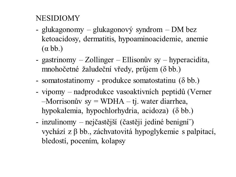 NESIDIOMY -glukagonomy – glukagonový syndrom – DM bez ketoacidosy, dermatitis, hypoaminoacidemie, anemie (α bb.) -gastrinomy – Zollinger – Ellisonův s